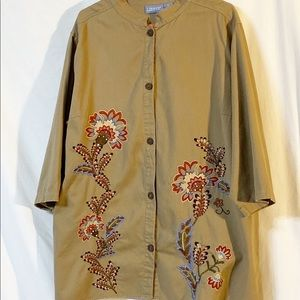 Liz & Me Buttoned Front Khaki Embroidered Top 3X